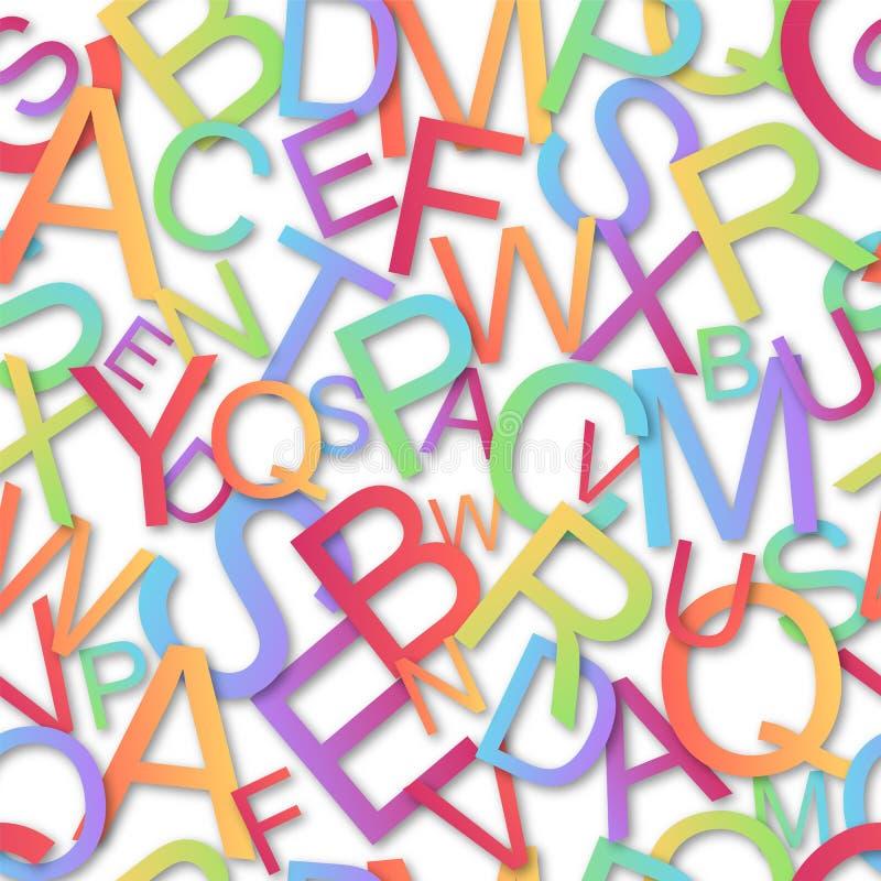 Seamless  pattern, colorful alphabet