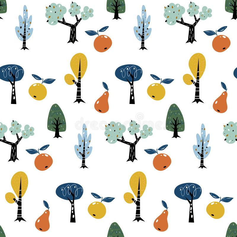 Seamless pattern with colorful autumn forest trees. Creative kids forest texture for fabric, wrapping, textile vector illustration