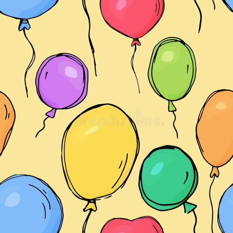 Seamless pattern with colorful balloons. Vector illustration in sketch style. royalty free illustration