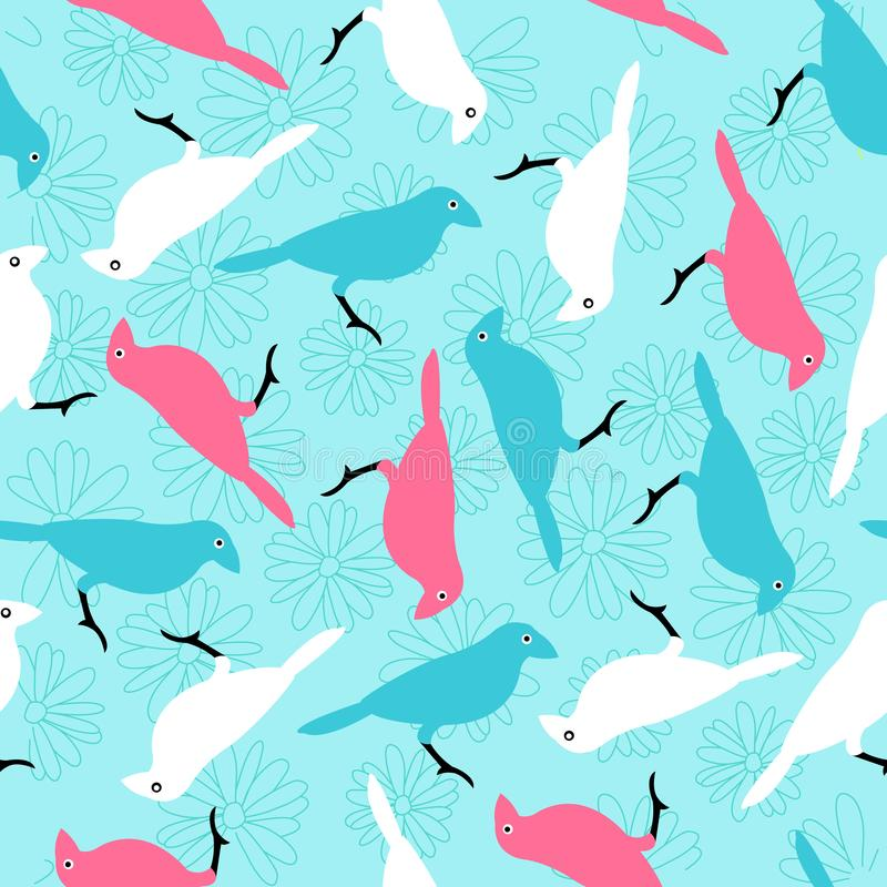 Seamless pattern with colorful birds and flowers stock photo