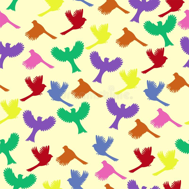 Seamless pattern with colorful birds. Vector graphics vector illustration