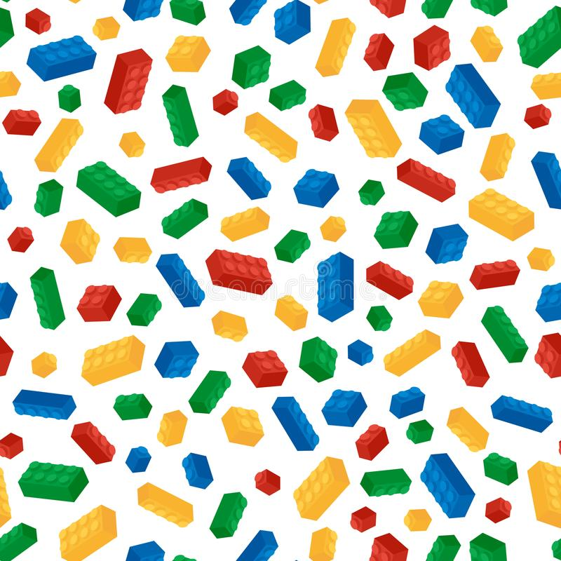 Seamless pattern from colorful building blocks vector illustration