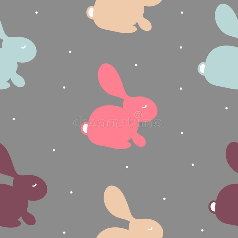 Seamless pattern with colorful bunny on white. Vector cute texture with rabbit on grey background stock illustration