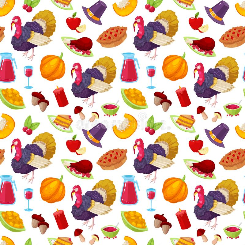 Pattern for thanksgiving day. Seamless pattern with colorful cartoon object for thanksgiving day on white background royalty free illustration