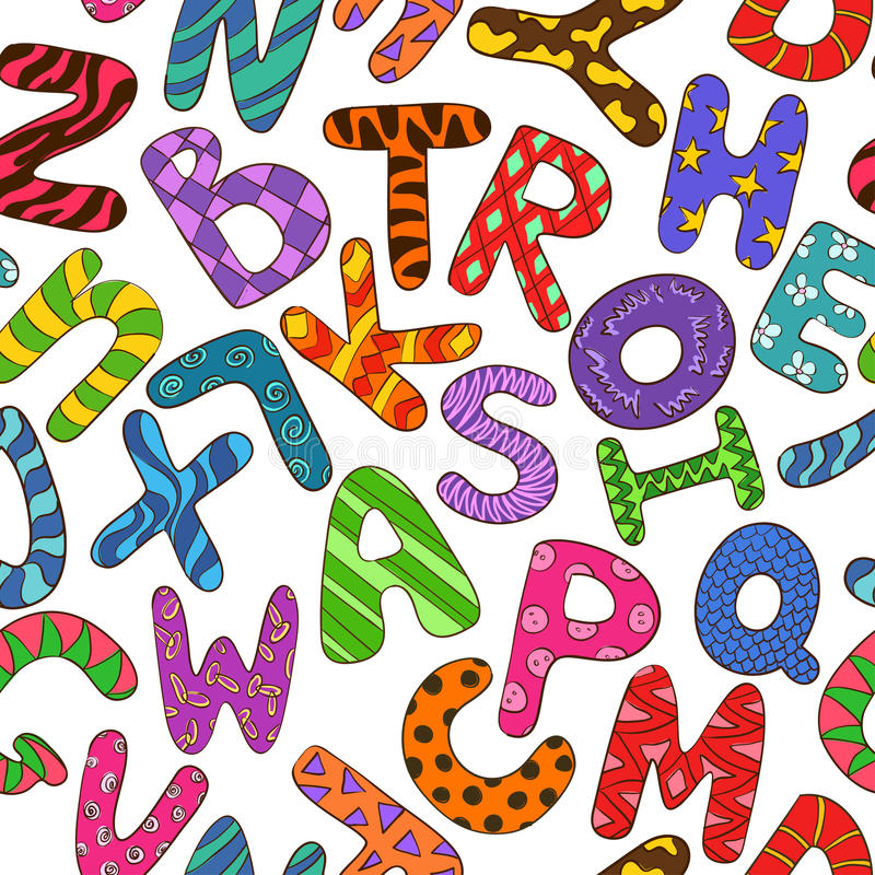 Seamless Pattern With Colorful Children Alphabet. royalty free illustration