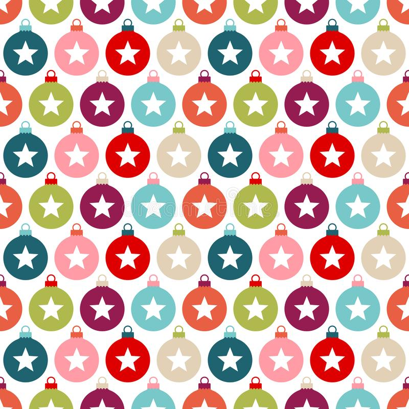 Free Seamless Pattern Colorful Christmas Baubles With Stars Royalty Free Stock Photo - 159031805