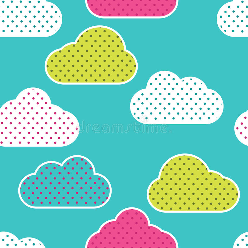 Seamless pattern with colorful clouds silhouettes on green background. Clouds in polka dots royalty free illustration