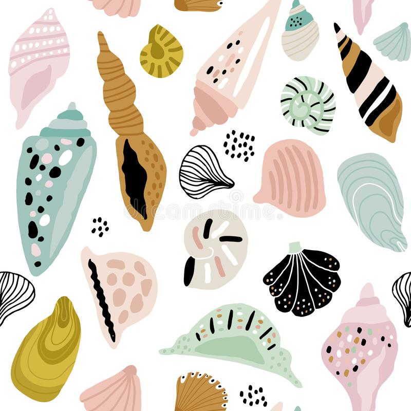 Seamless pattern with colorful creative seashells. Creative marine texture. Great for fabric, textile Vector Illustration royalty free illustration