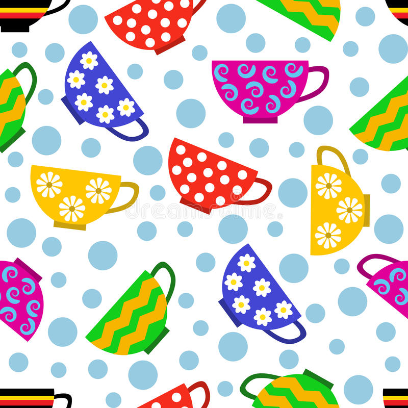 Seamless pattern with colorful cups vector illustration