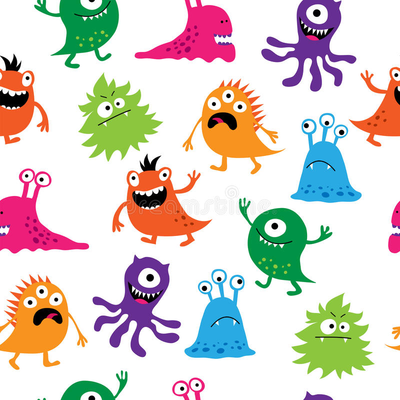 Seamless pattern with colorful cute creatures stock illustration