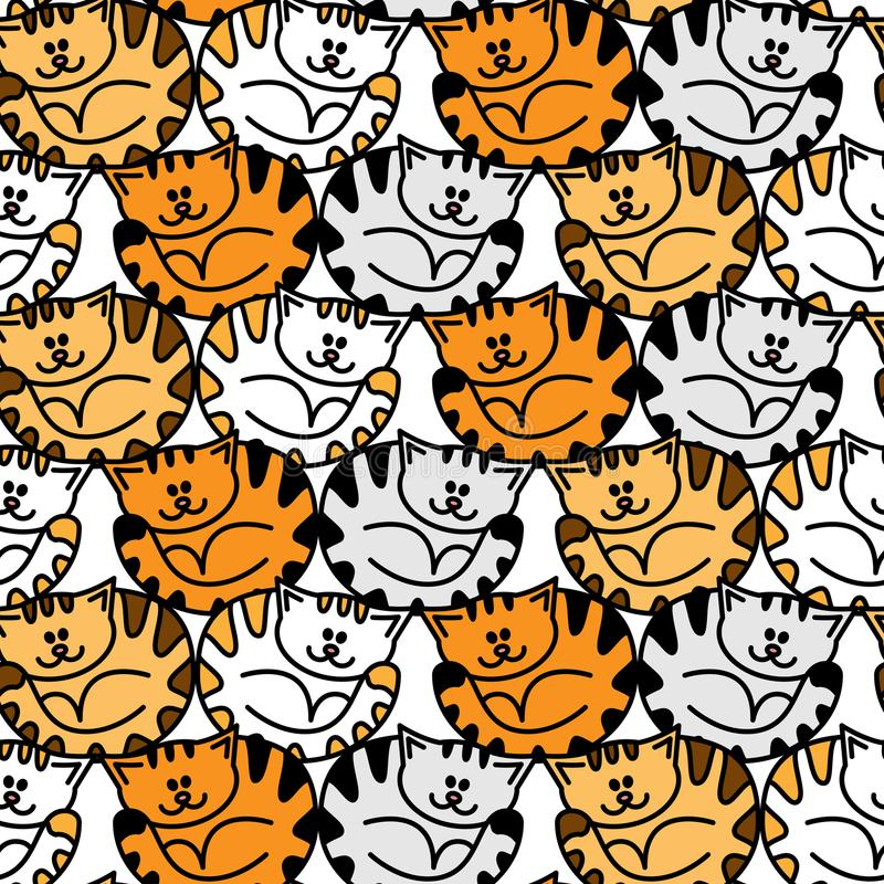 Seamless pattern with colorful cute strips cats. vector illustration