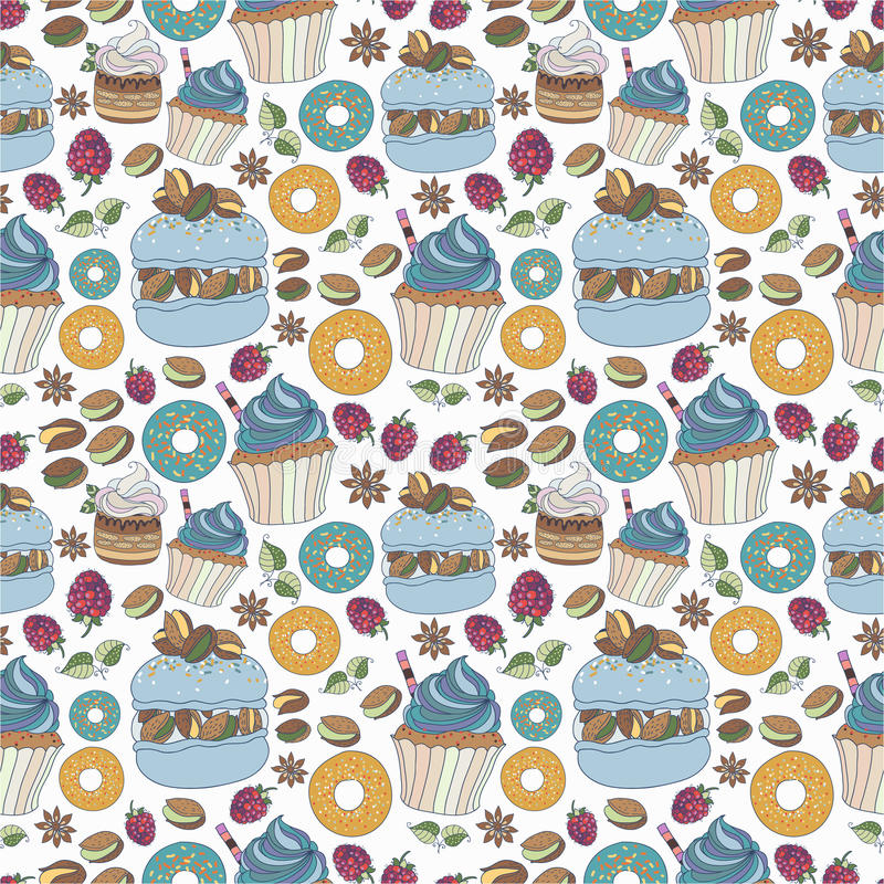 Seamless pattern of colorful desserts. Texture with cakes. Background royalty free illustration