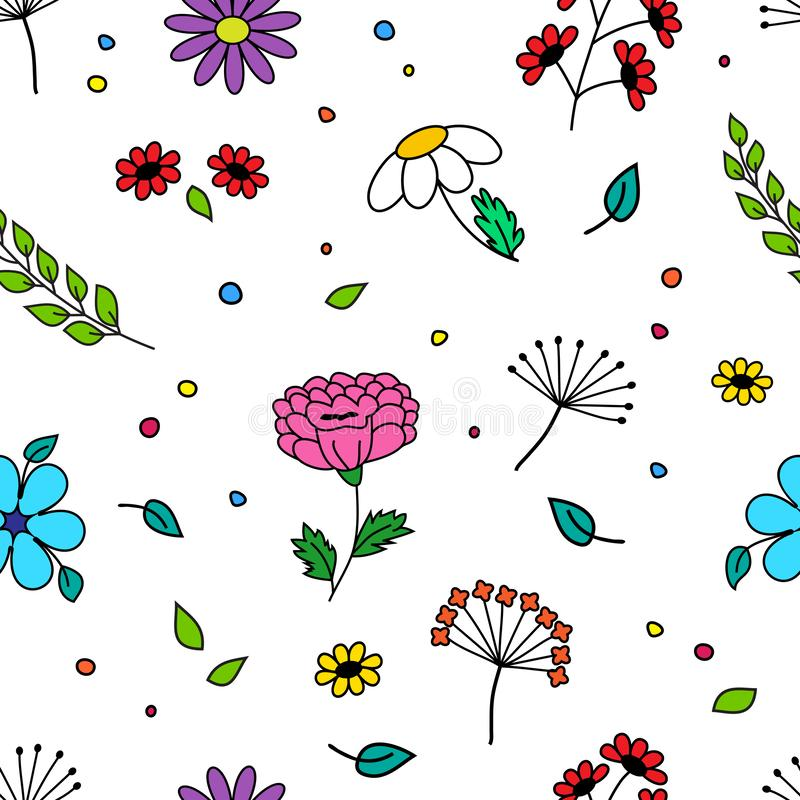 Seamless pattern with colorful different flowers and plant, hand drawn. Vector illustration. Seamless pattern with colorful different flowers and plant, hand stock illustration