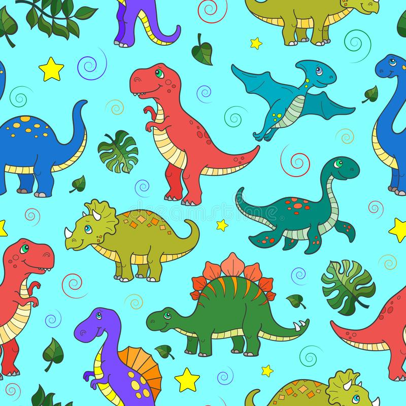 Seamless illustration with colorful dinosaurs and leaves, animals on blue background. Seamless pattern with colorful dinosaurs and leaves, animals on blue vector illustration
