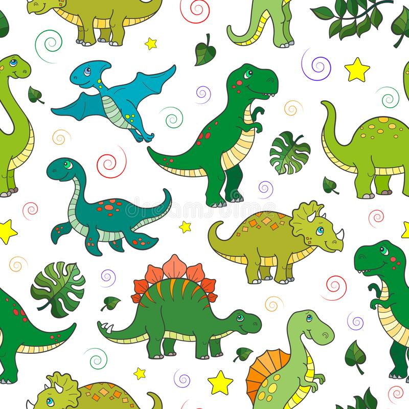 Seamless illustration with colorful dinosaurs and leaves, animals on white background. Seamless pattern with colorful dinosaurs and leaves, animals on white royalty free illustration