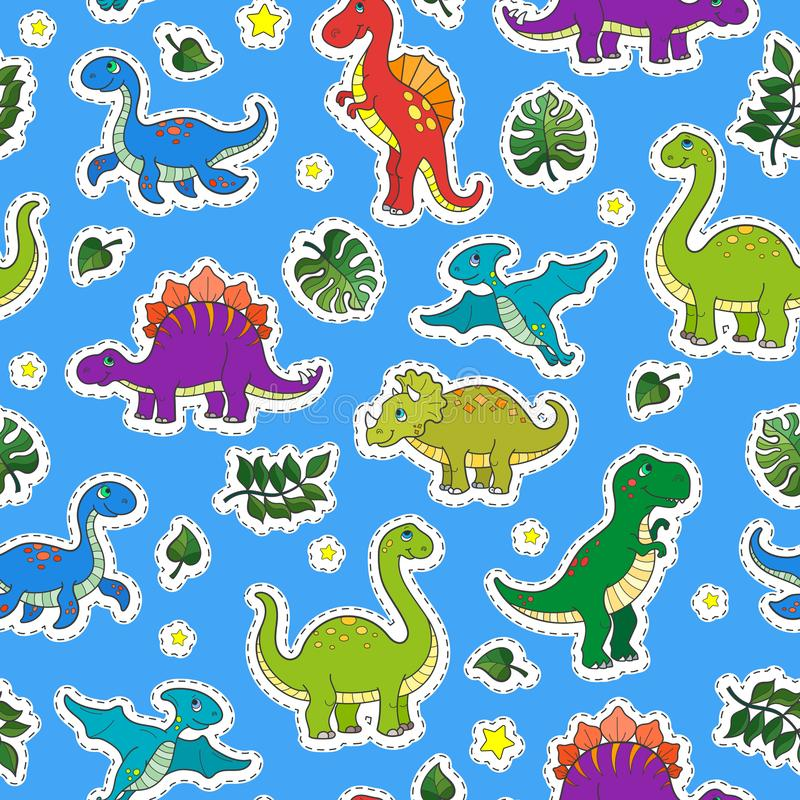 Seamless illustration with colorful dinosaurs and leaves,patch icons on blue background. Seamless pattern with colorful dinosaurs and leaves,patch icons on blue vector illustration