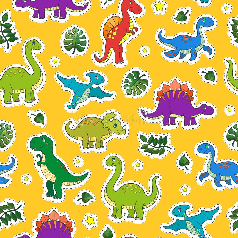Seamless illustration with colorful dinosaurs and leaves,patch icons on yellow background. Seamless pattern with colorful dinosaurs and leaves,patch icons on stock illustration