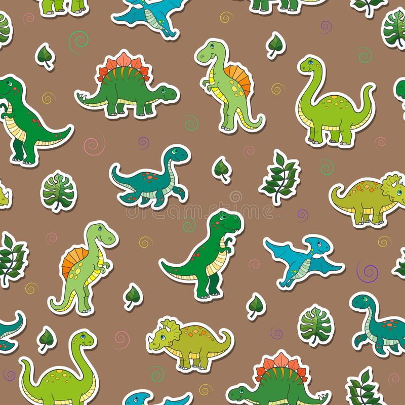 Seamless illustration with colorful dinosaurs and leaves, sticker icons on brown background. Seamless pattern with colorful dinosaurs and leaves, sticker icons stock illustration