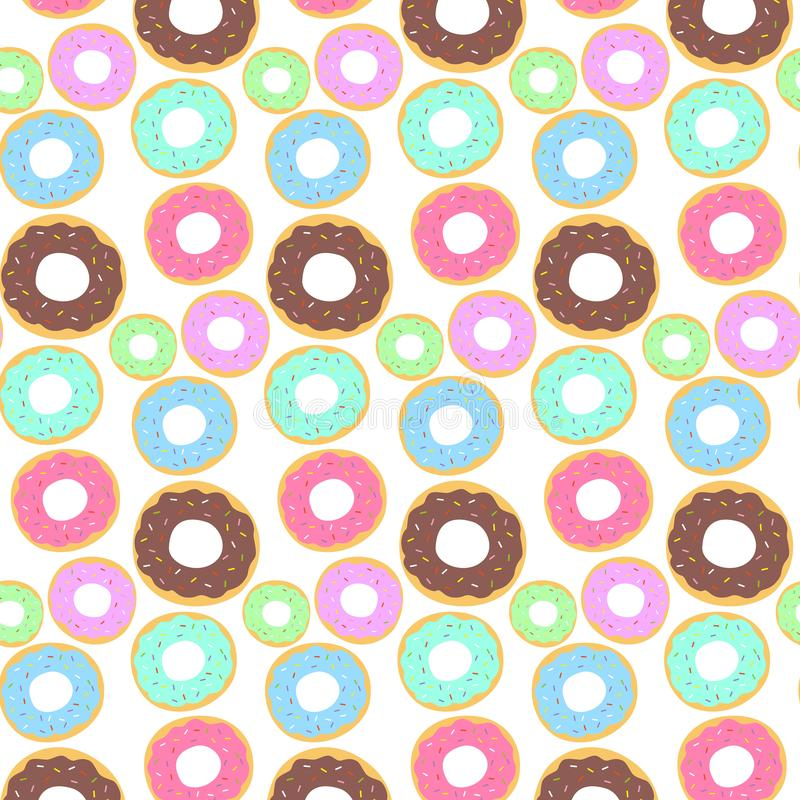 Seamless pattern with colorful donuts. Vector illustration royalty free stock image