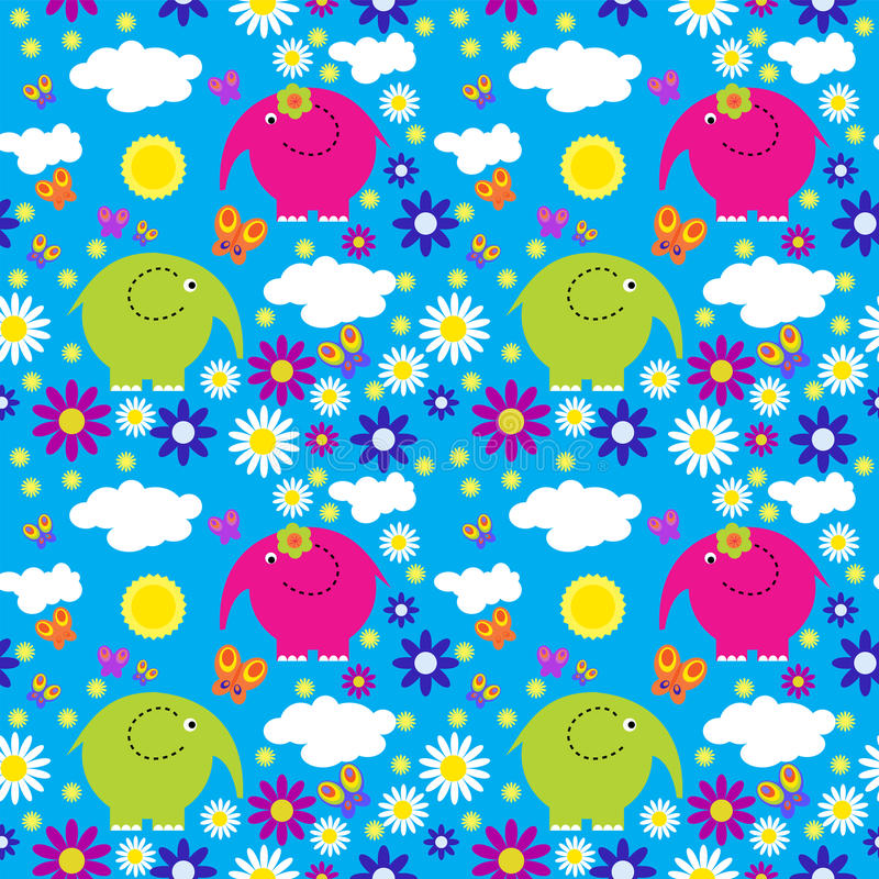 Seamless pattern with colorful elephants on a background of clouds. Seamless pattern with colorful elephants on background of clouds vector illustration
