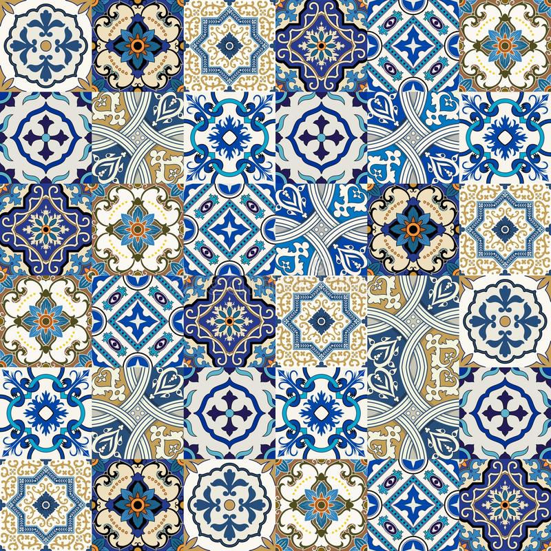 Seamless pattern from colorful floral Moroccan, Portuguese tiles, Azulejo, ornaments. vector illustration