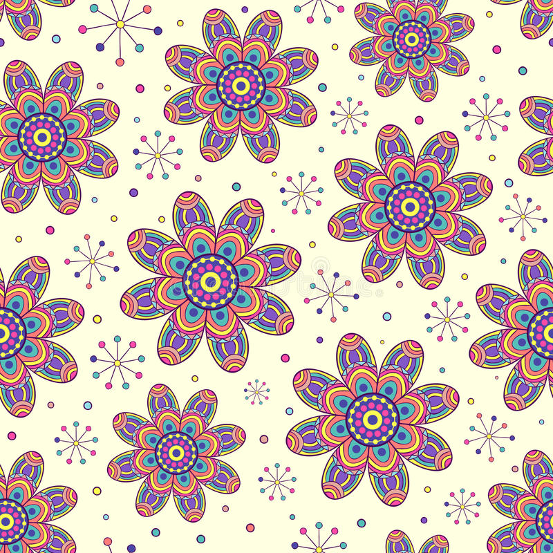 Seamless pattern with colorful flowers stock illustration