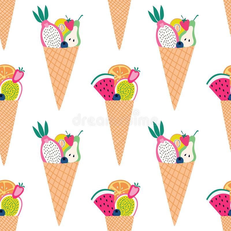 Seamless pattern of colorful fruit cones with sliced fruit. stock illustration
