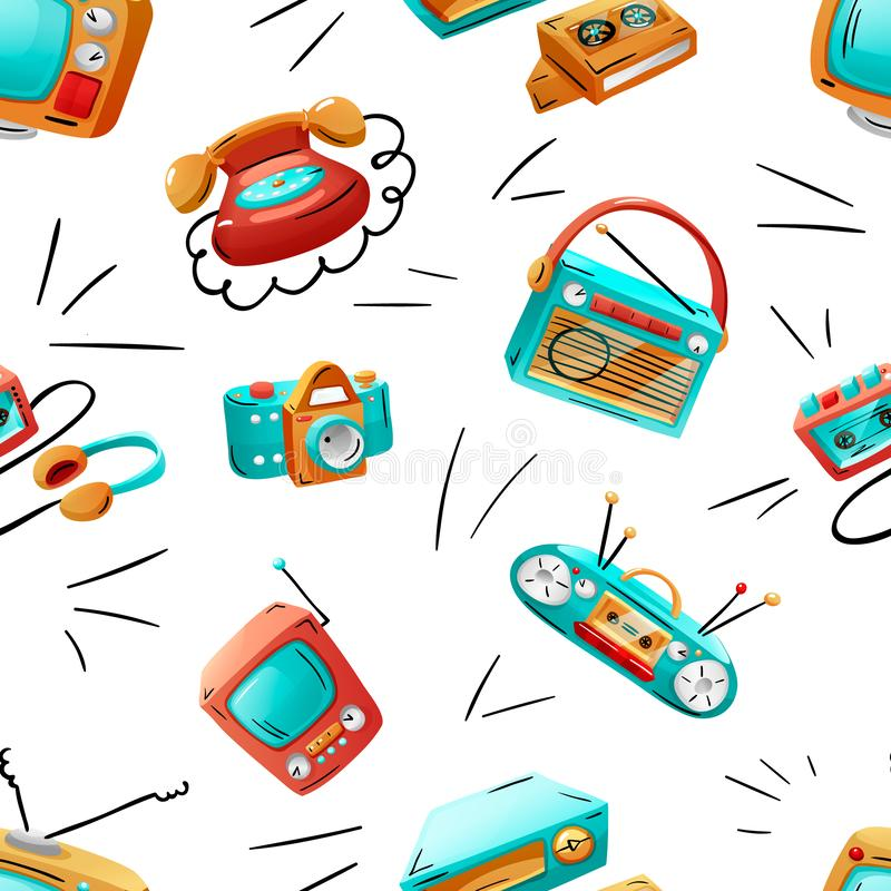 Seamless pattern with colorful funny retro devices. Seamless pattern with funny retro devices in mixed style - flat, cartoon, comics. Vector illustration stock illustration