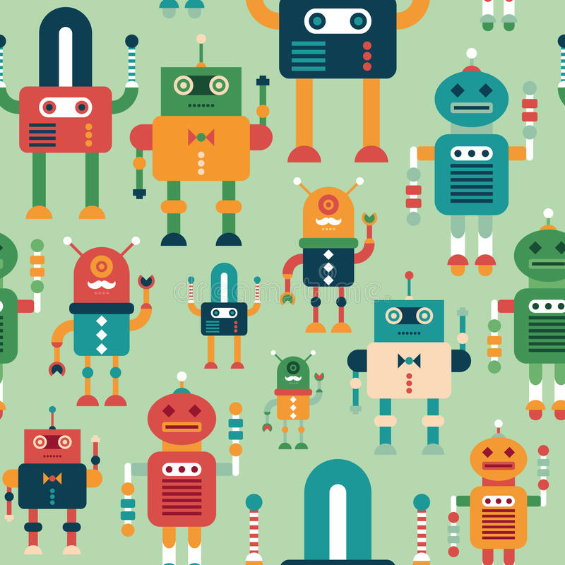 Seamless pattern with colorful funny robots. Intelligent robots. Colorful seamless pattern. Set 5 vector illustration