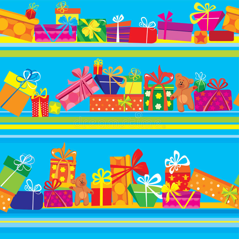 Seamless pattern with colorful gift boxes vector illustration