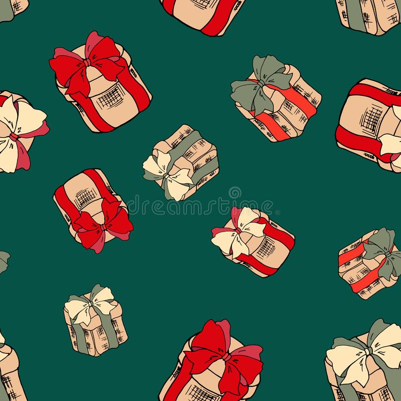 Seamless pattern with colorful gifts on green background. Christmas presents with red ribbons. Merry christmas seamless pattern. stock illustration