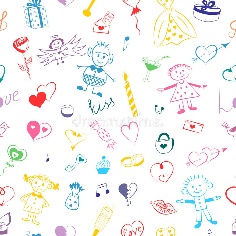 Seamless Pattern of Colorful Hand Drawn Set of Valentine`s Day Symbols. Children`s Cute Drawings of Hearts, Gifts, Rings, Balloons vector illustration