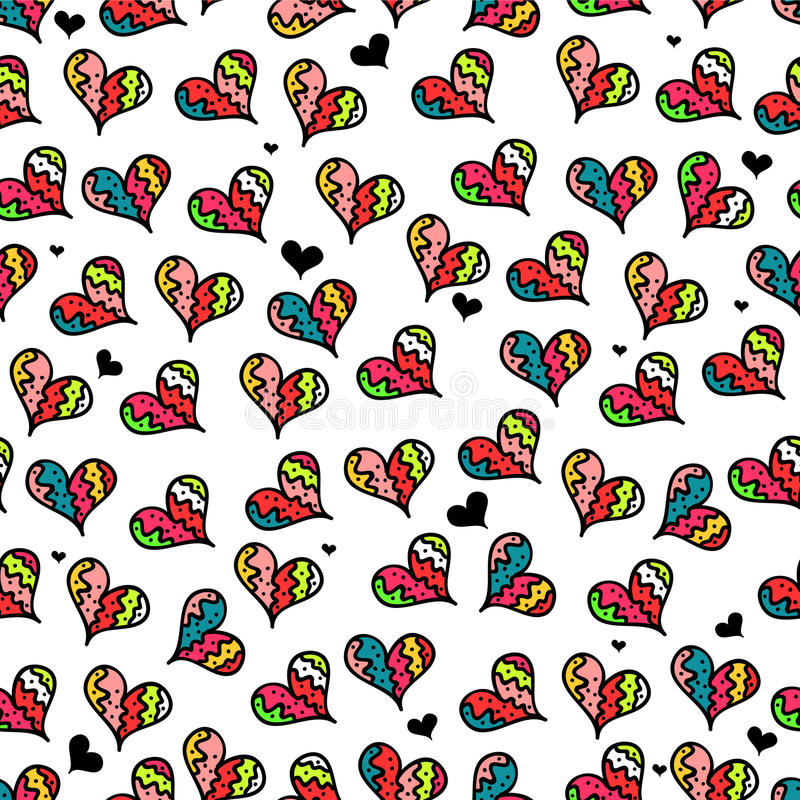 Download Seamless Pattern With Colorful Hearts Stock Vector - Image: 28538213