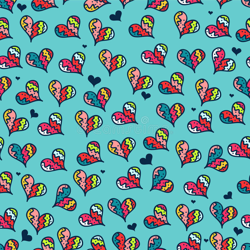 Download Seamless Pattern With Colorful Hearts Stock Vector - Illustration of hand, creative: 28538230