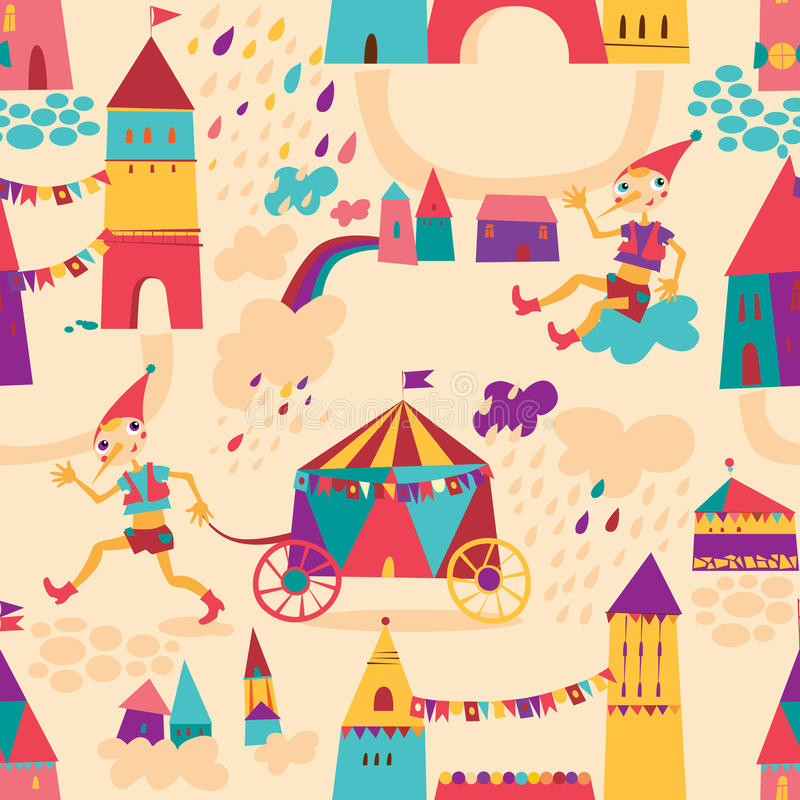 Seamless pattern with colorful houses for children's background. vector illustration