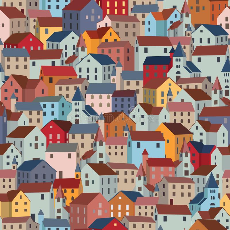 Seamless pattern with colorful houses. City or town texture. royalty free illustration