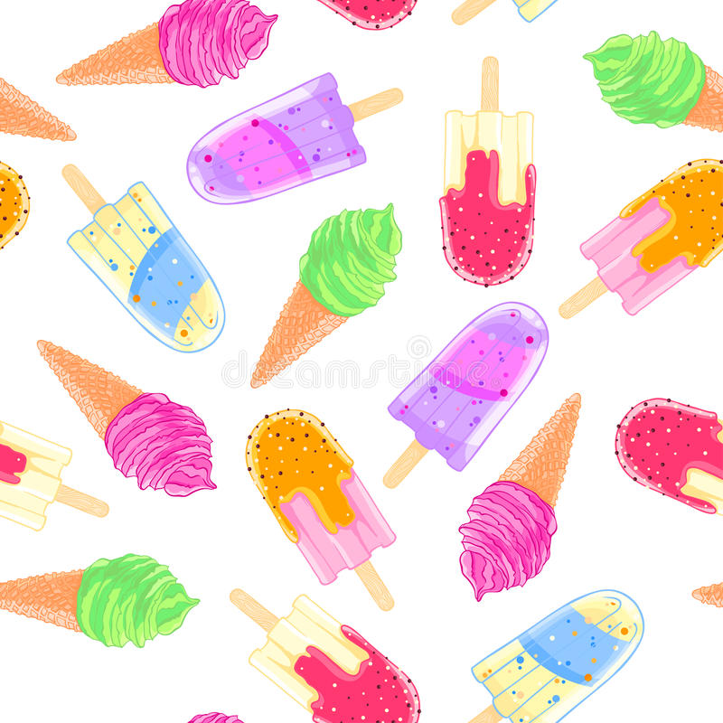 Ice Cream Cone Wallpaper: Seamless Pattern With Colorful Ice Cream Cone And Popsicle