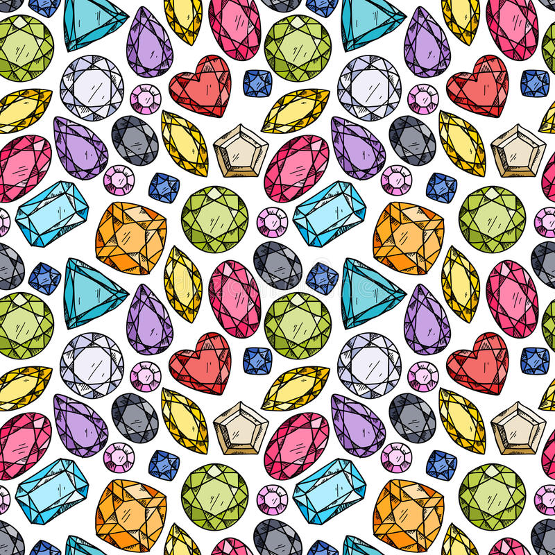 Seamless pattern of colorful jewels. vector illustration