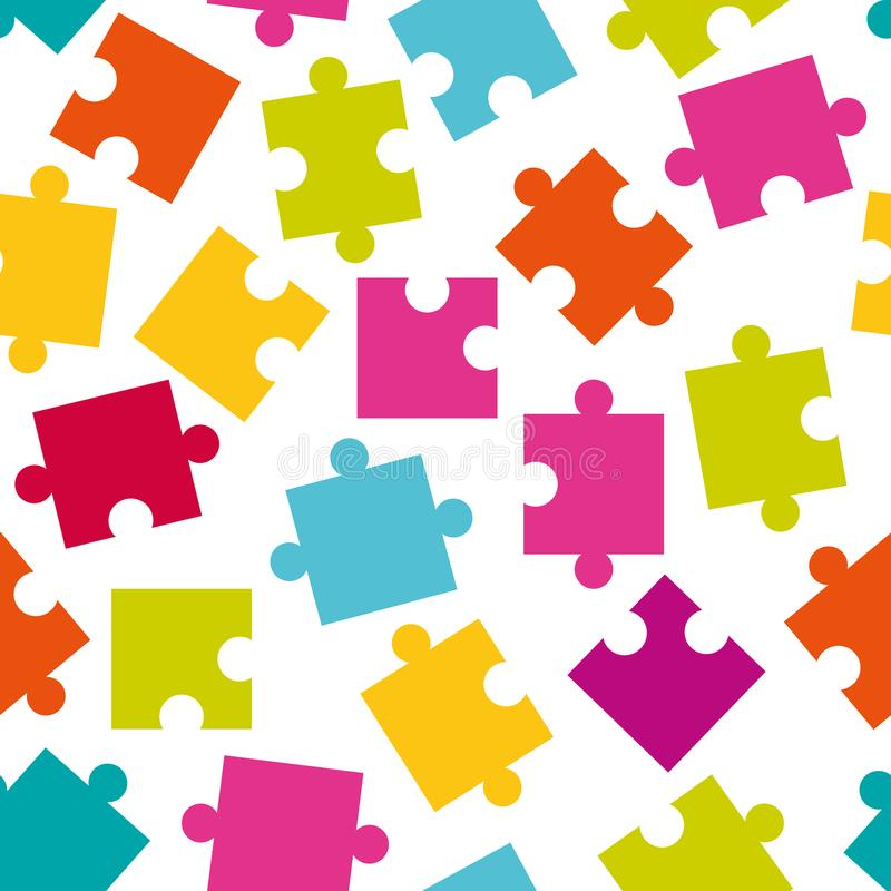 Seamless pattern of colorful jigsaw puzzle pieces. royalty free illustration