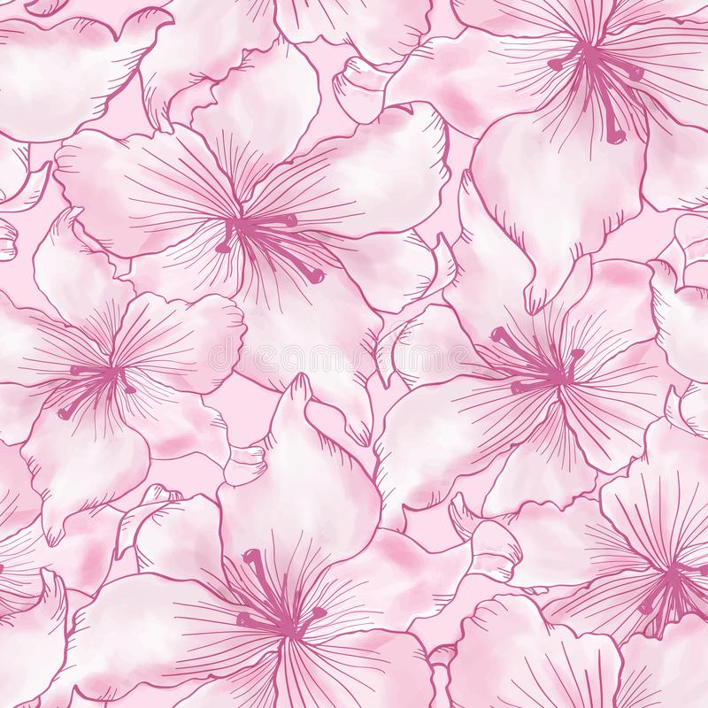 Seamless pattern with colorful lilies flower on white background stock illustration