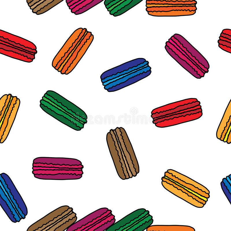 Seamless pattern with colorful macaroon. On the white background. Vector illustration stock illustration