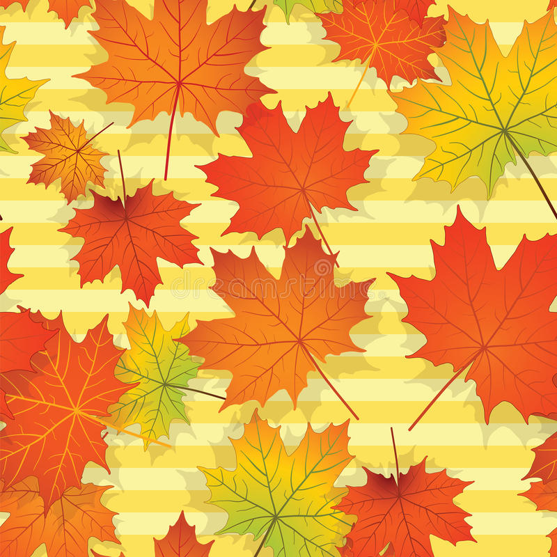 Seamless pattern with colorful maple leaves stock images
