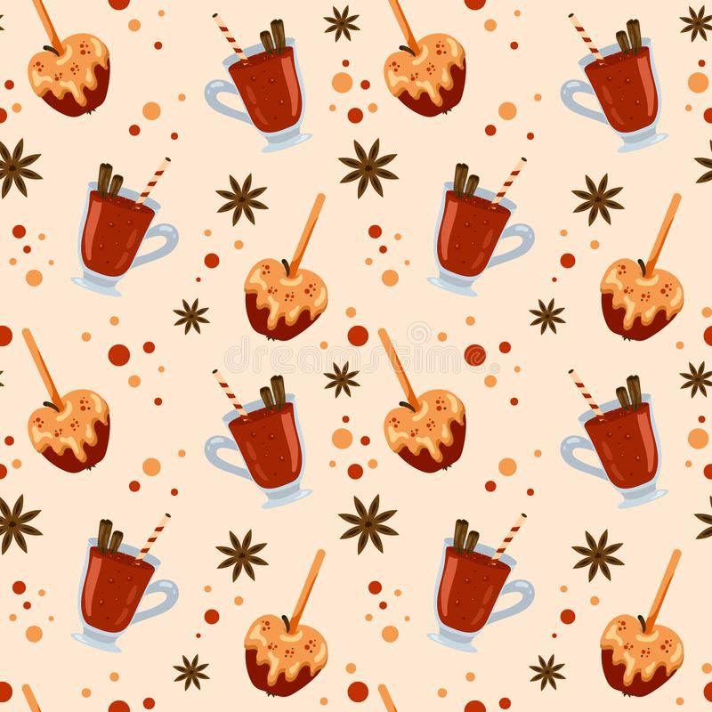 Seamless pattern with colorful mulled wine and apples in caramel. Menu design, shop wrapping paper vector illustration