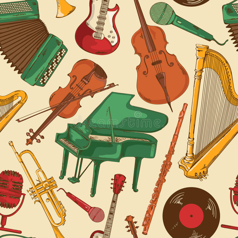 Seamless pattern of colorful musical instruments. Colorful seamless pattern of cartoon musical instruments vector illustration