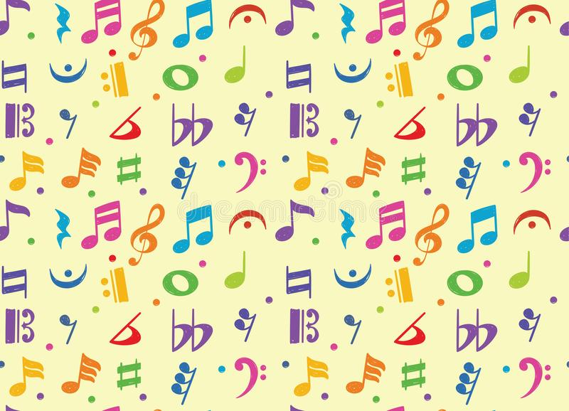 Seamless pattern of musical note doodle symbol vector illustration