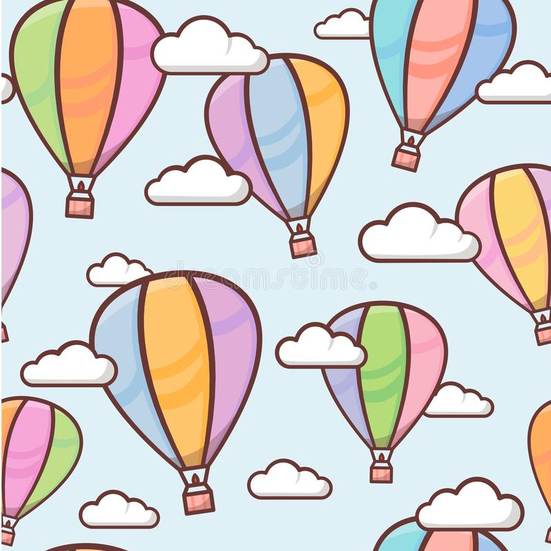 Seamless pattern with colorful outline balloons in the sky with clouds, naive and simple background, vector illustration stock illustration
