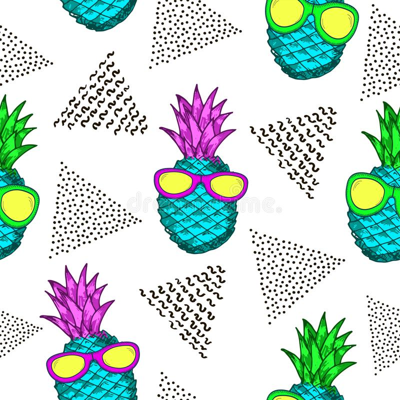 Seamless pattern with colorful pineapples and black triangles. stock illustration