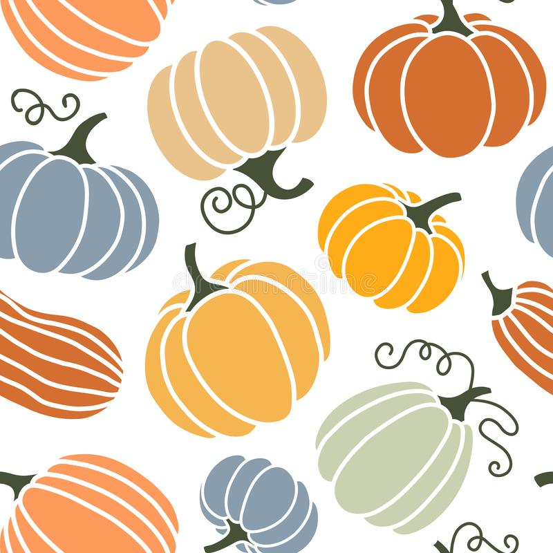Seamless pattern of colorful pumpkins vector illustration