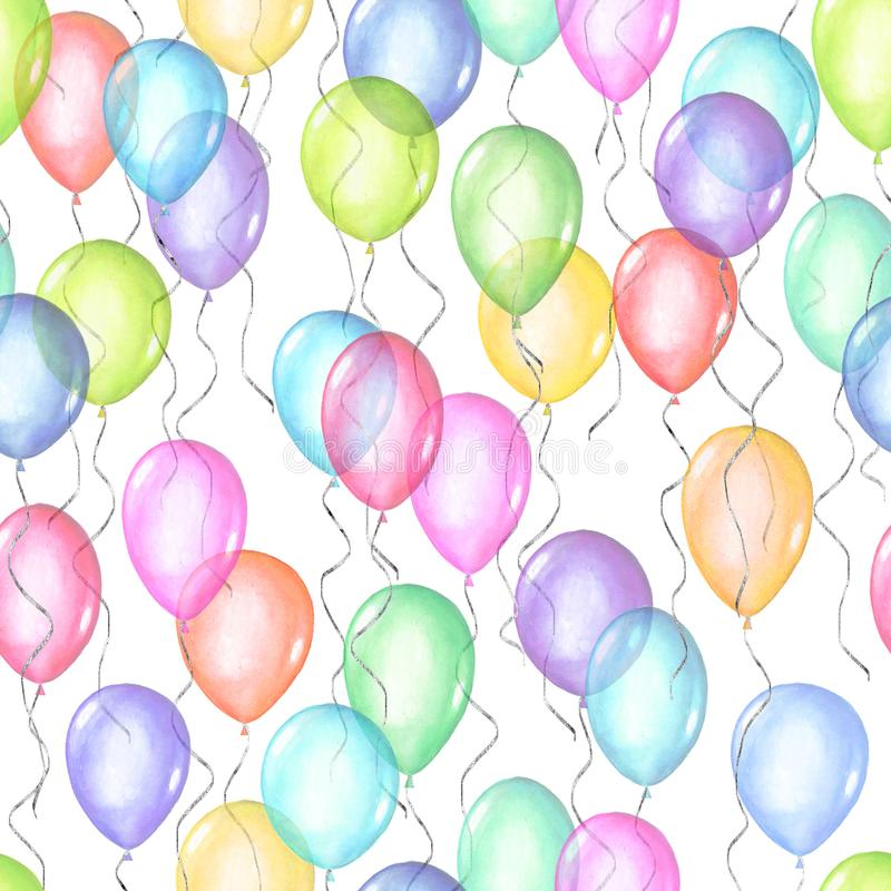 Seamless pattern of colorful rainbow colors watercolor happy holiday flying balloons. Seamless pattern of colorful rainbow colors watercolor happy holiday glossy stock photography
