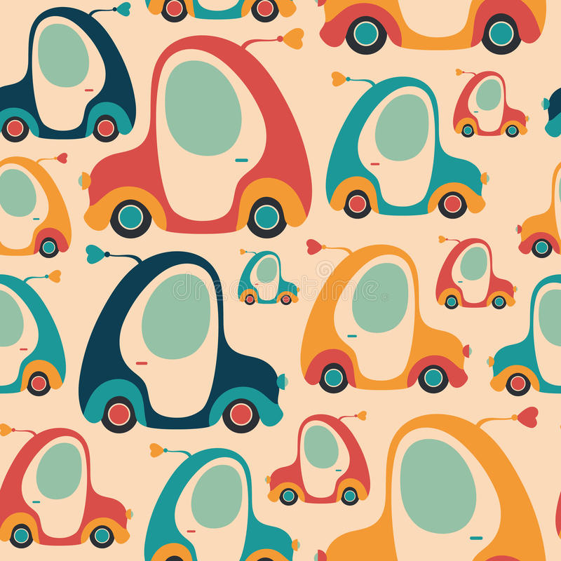 Seamless pattern with colorful retro cars. vector illustration